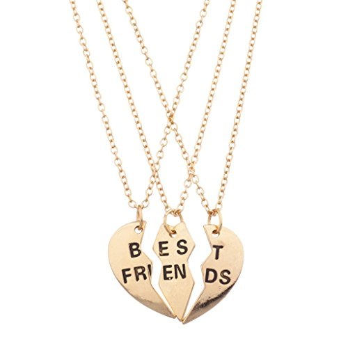 Lux Accessories Goldtone Engraved Best Friend Broken Heart Valentine BFF Shaped Charm Pendant Necklace Shared Amongst Three of Your Closest Friends