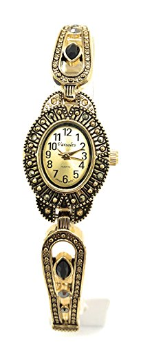 Ladies Elegant Marcasite Oval Stretch Elastic Band Fashion Watch Versales