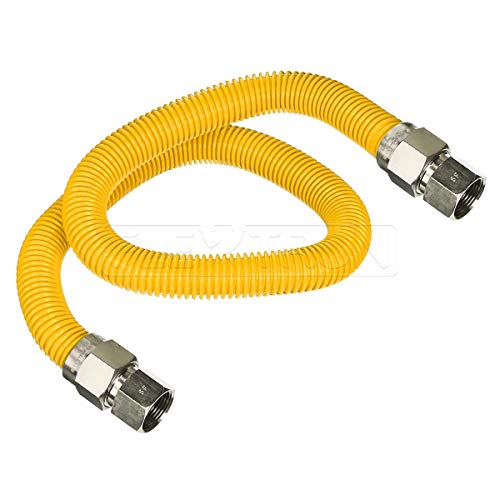 Flextron FTGC-YC38-72E 72 Inch Flexible Epoxy Coated Gas Dryer Connector with 1/2 Inch Outer Diameter & 1/2 Inch FIP x 3/8 Inch FIP Fitting, Yellow/Stainless Steel, Excellent Corrosion Resistance