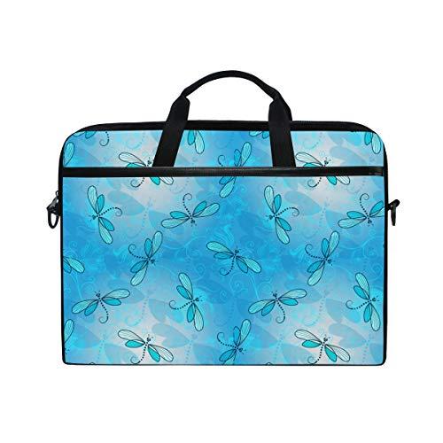 Blue Dragonfly Necklace Spring Lightweight Travel Business School Computer Bag Laptop Briefcase Shoulder Bag Protective Cover for Men and Women