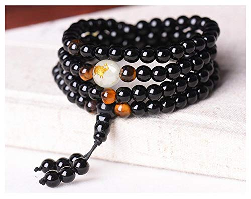Black Buddha Beads Bangles & Bracelets Handmade Jewelry Ethnic Glowing in The Dark Bracelet for Women or Men hxx824z290-6mm Pig chivalrous