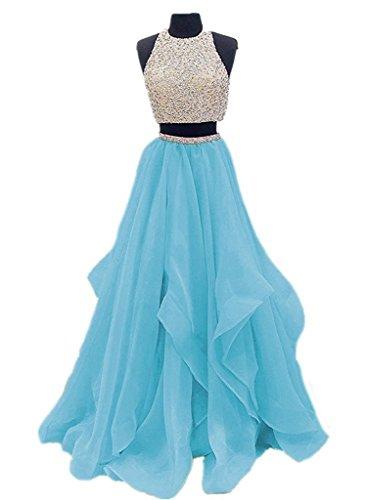 2 Piece Halter Evening Gown - 7