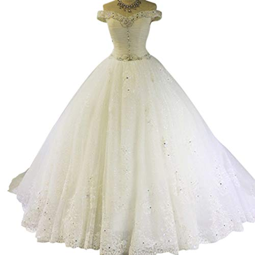 TBGirl Romantic A-Line Off The Shoulder Crystal Bling Sequin Long Wedding Dresses -