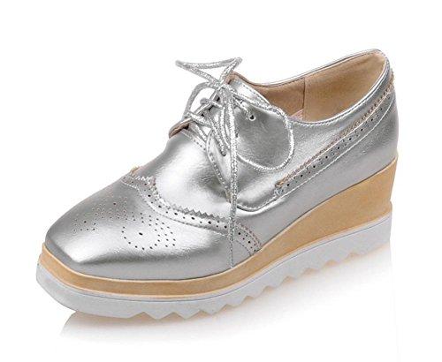 Frau im Frühjahr und Herbst Frau Aufzug Schuhe Quadrat Singles Schnürsenkel Schuhe Muffin Schuhe Kopf Frauen , US6.5-7 / EU37 / UK4.5-5 / CN37