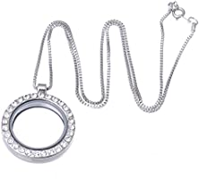 RUBYCA Living Memory Floating Charm Round Glass Locket Pendant Necklace 20 Inches 1pcs Silver Tone White Crystal