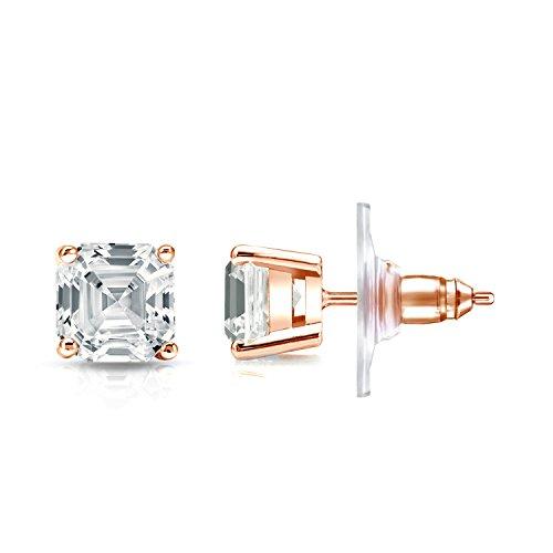 IGI Certified 14k Rose Gold 4-Prong Basket Asscher-cut Diamond Stud Earrings (1 1/2ct,White,SI2-I1)