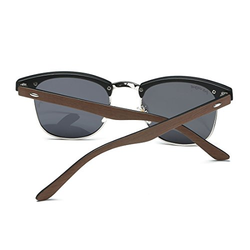AEVOGUE Polarized Sunglasses Semi-Rimless Imitation woodgrain Frame Brand Designer AE0369 (Woodgrain&Black, 48)