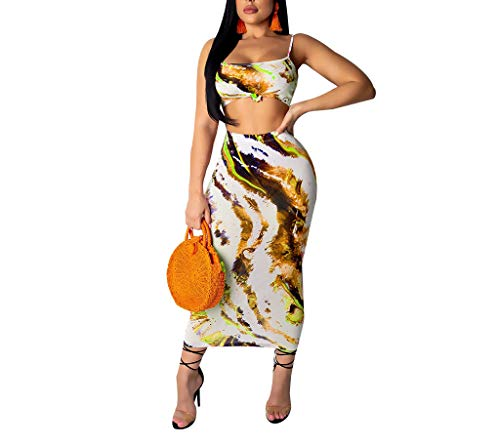 - Womens Summer Tie Dye Tank Crop Top Bandage Bodycon Maxi Skirt Set 2 Piece Midi Floral Dress Outfits