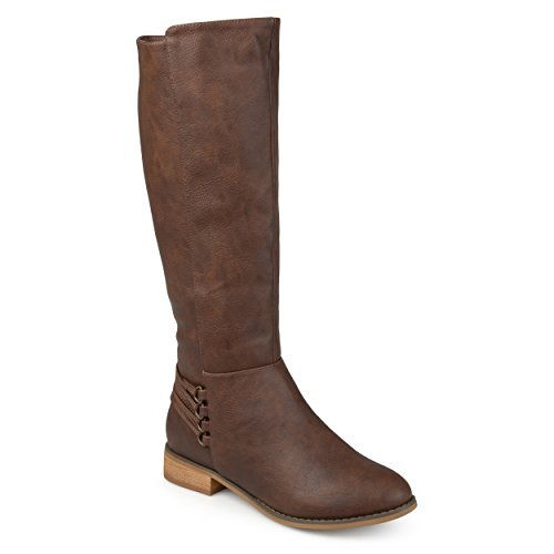 Journee Collection Womens Regular and Wide Calf Distressed D-Ring Strap Riding Boots