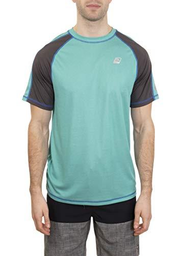 LAGUNA Mens Short Sleeve Crewneck Loose Fit Rashguard Sun Tee Shirt, UPF 50+, Heather Aqua/Grey, L