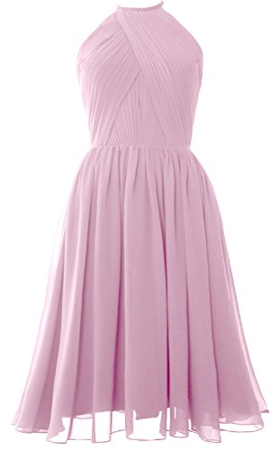 Cocktail Gown Petal Short with MACloth Dress Halter Back Women Bridesmaid Pink Open Chiffon nCxxRq1Wa