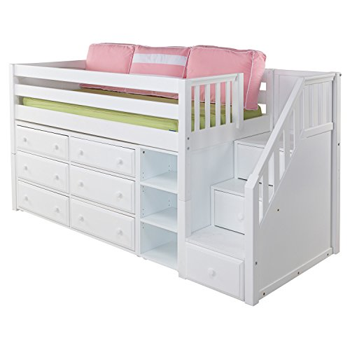 Maxtrix Solid Hardwood Twin-Size Low Loft Bed with Storage Staircase Entry, Bookshelf and 6 Drawer Dresser, White