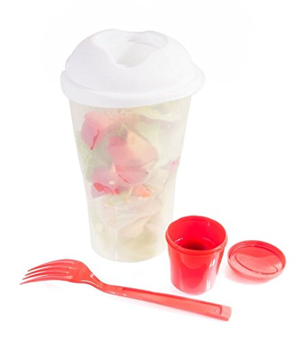 Portable Salad (Rogue River Home 2 Pack Fresh Salad To Go Portable Shaker Container Set with Reusable Fork and Dressing Holder Healthy Fresh Lunch Bowl STAY FIT RED …)