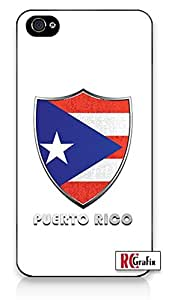 Premium Puerto Rico Flag Badge Direct UV Printed (not a sticker) iPhone 4 Quality Hard Snap On Case for iPhone 4 4S 4G - AT&T Sprint Verizon - Black Frame