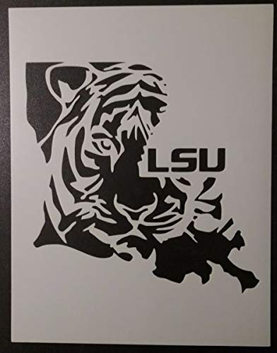 Custom Stencil Louisiana State Shaped LSU Tigers 8.5 x 11