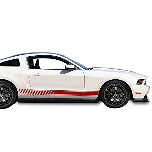(Bubbles Designs 2X Decal Sticker Vinyl Side Racing Stripes Compatible with Ford Mustang GT 4.6L V8 2005-2010)