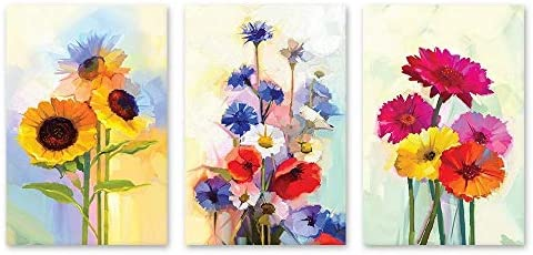 3 Panel Oil Painting Style Colorful Flowers x 3 Panels