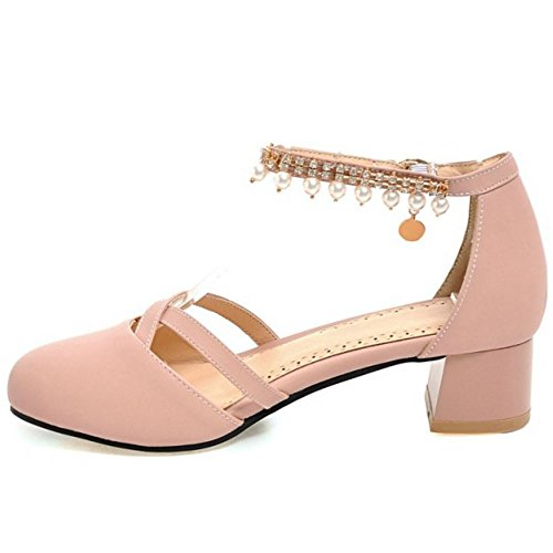 Ankle Block Sandals Toe Strap TAOFFEN Women Pink Buckle Heel Casual Pearl Closed nRqaxgBw