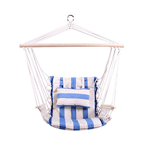 NEW! Blue Hanging Rope Chair Patio & Garden Furniture New Hammock Hanging Rope Swing Chair Outdoor Porch Backyard Camping Portable - Measuring Frames Eyeglass
