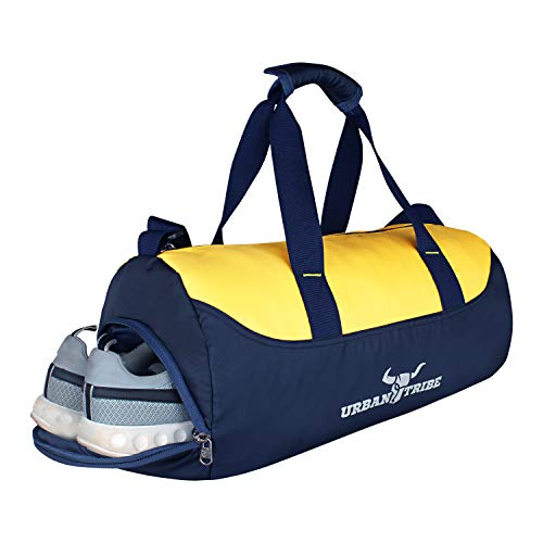 Urban Tribe Bolt Gym Bag Sports Duffel with Shoe Compartment 28 L (Navy/Yellow)