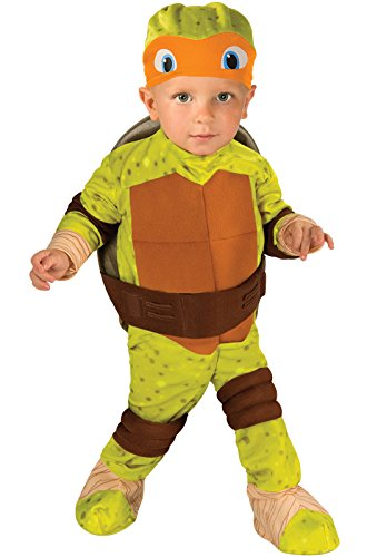 Birth Costume Halloween (Nickelodeon Ninja Turtles Michelangelo Romper Shell and Headpiece, Green, Toddler(12-24 Months))