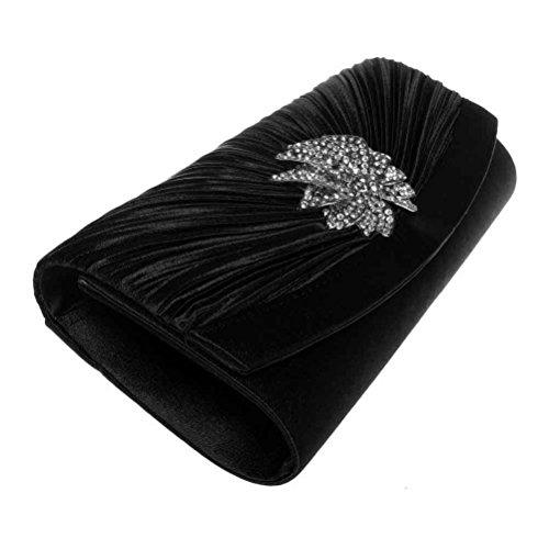 3D For amp; Clutch Party Clutch Black Floral FASHIONROAD Wedding Purses Womens Pleated Evening Rhinestone wFUqx4