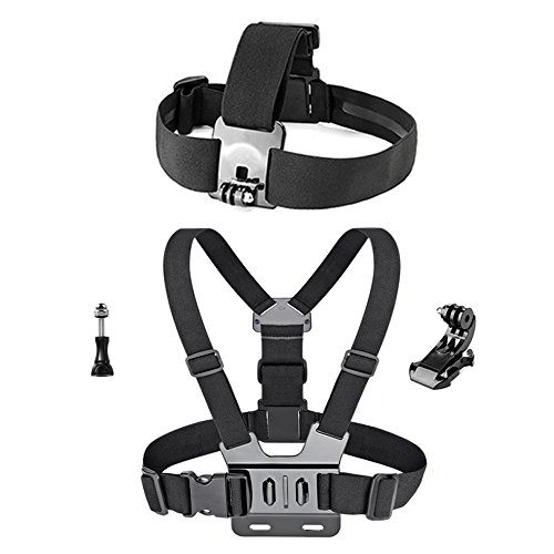 Greleaves Head Strap Mount Headstrap Chest Mount Harness Chesty Accessories Kit for AKASO EK7000 GoPro Hero 5/4/3+/3/2/1 GoPro Session 5 SJ Cam YI 4K Action Camera Lightdow Waterproof Camera