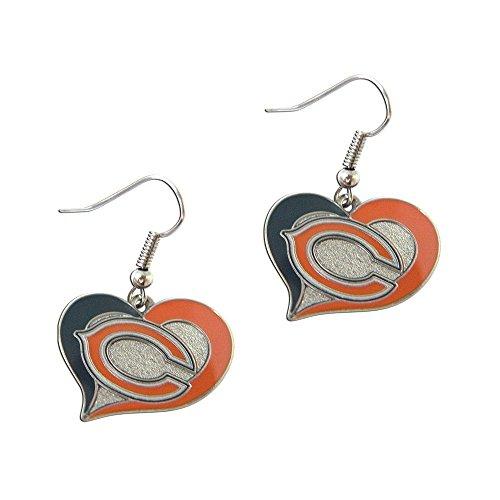Earrings Nfl Hoop - NFL Chicago Bears Swirl Heart Earrings