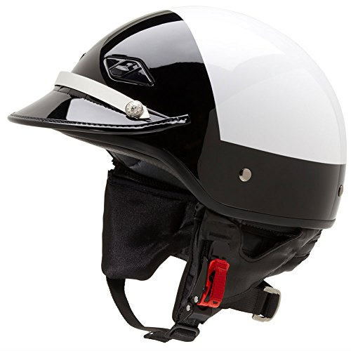 - Official Police Motorcycle Helmet w/ Patent Leather Visor (Black/White, Size Medium)