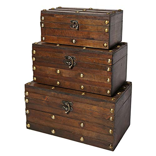 Set Trunk - Soul & Lane Monahan Wooden Trunk Chests (Set of 3) | Decorative Treasure Storage Boxes for Keepsake Toys Photos Memories