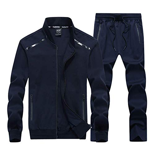 INVACHI Mens 2 Pieces Athletic Full Zip Sports Sets Jacket & Pants Active Fitness Jogging Sweat Tracksuit Set