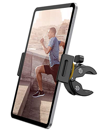 "Lamicall Spinning Bike Tablet Holder Mount - Gym Treadmill Tablet Stand, Indoor Stationary Exercise Bicycle Tablet Clamp for iPad Pro 11 / Air / Mini, Galaxy Tabs, More 4.7-12.9"" Tablet and Cellphone"