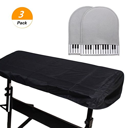 SelfTek 88 Keys Electronic Piano Keyboard Cover Stretchable Keyboard Dust Covers with 1 Pair of Cleaning Gloves by SelfTek
