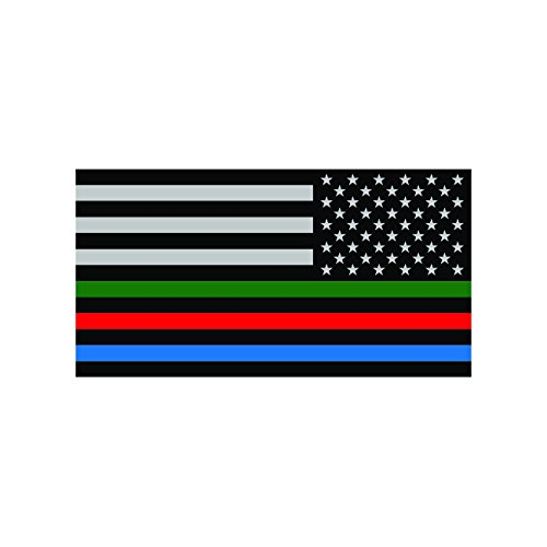 Reverse Thin Blue Line USA Flag with Red Blue Green Stripe Sticker Decal Self Adhesive FA Graphix -