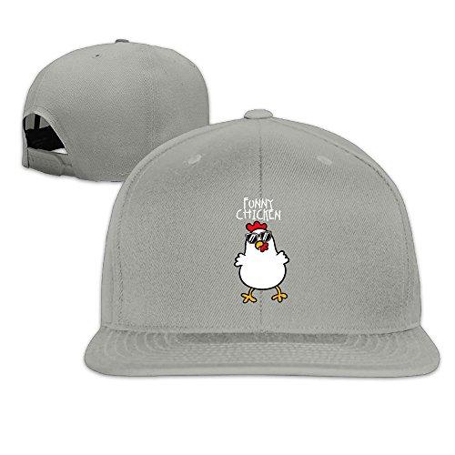 F5sw Caps Funny Chicken With Sunglass Men's Cotton Flat Baseball Cap Adjustable Flat Bill - Chicken Sunglasses Wearing