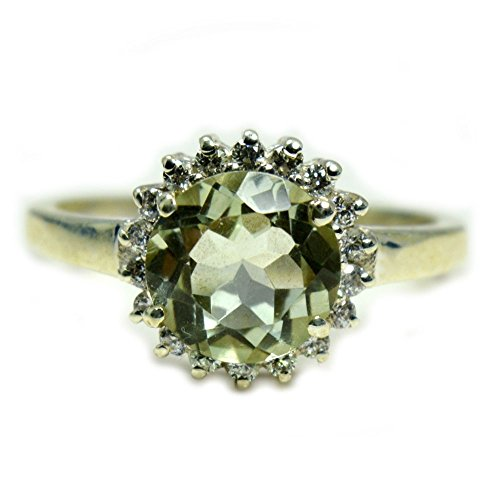 Gemsonclick Genuine Natural Green Amethyst Ring Round Shape 925 Sterling Silver