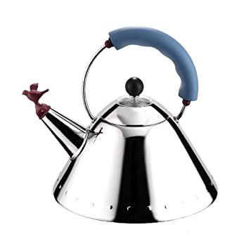 Image of Alessi 9093 Kettle, 9'' H x 8.5'' W x 8.5'' D, Blue Home and Kitchen
