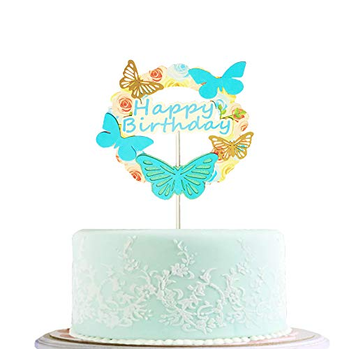 BLINGBLING Happy Birthday Cake Topper Blue with Gold Butterfly - Fashion Cake Cupcake Topper for Baby Neutral Kids Adult Elder- Birthday Party Baby Shower Decorations Party Supplies ()
