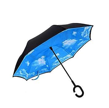 paraguas Paraguas reverso paraguas doble paraguas libre Creative inversión plegable coche abierto paraguas largo mango hueso