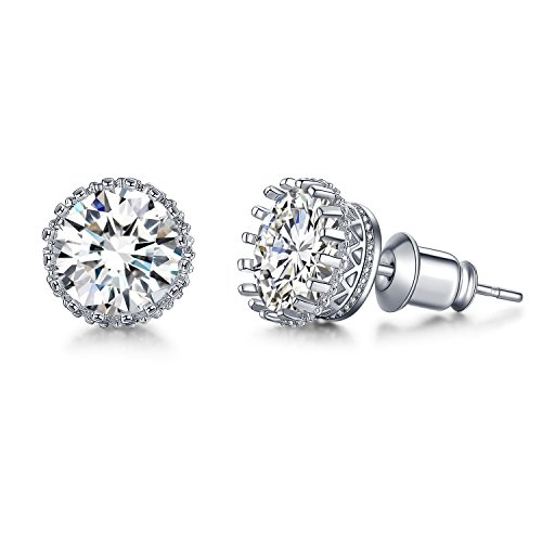 - UMDOE Round Cut Cubic Zirconia Solitaire Stud Earrings White Gold Plated 2ct Simulated Diamond Earrings