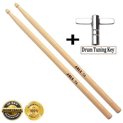 7a Drum sticks Wood Tip 7a drumsticks Maple 1 pair drum sticks and 1 Drum Key Drum Tuning Key