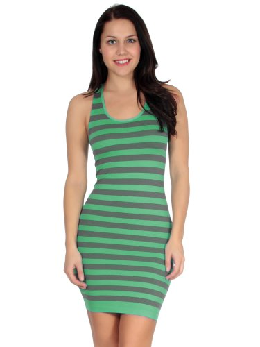 Simplicity Women's Sleek Striped Racerback Mini Summer Tank Dress, Mint (Homemade Costumes With Tights)