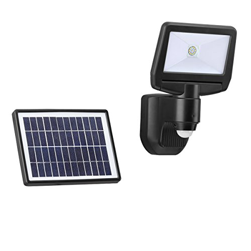 Link2Home Super Bright Black 900-Lumen Motion Activated Outdoor Integrated LED 6500K Solar Powered Landscape Flood Light