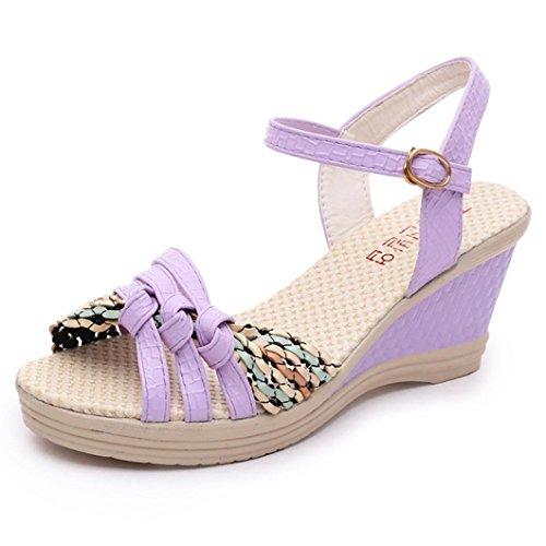 cuña Púrpura Tamaño bohemia aire Plataforma Sandalias 2 alto al mujer damas tacón de Summer de festivo adornada libre con de para 8 Beach boda Lolittas Peep Boho Zapatos día Toe CXOFnq