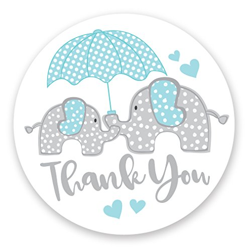 Boy Elephant Baby Shower Thank You Stickers (120 Count) - Envelope Seals or Party Favor Labels ()
