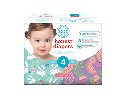 Honest Baby Diapers, Club Box, Bunnies & Sliced Fruit, Size 4, 60 Count (Club Plant Of Best Month The)