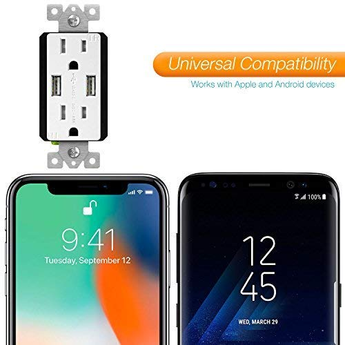 UL Listed 15A Tamper-Resistant Receptacles HTC Other Smartphones Compatible with iPhone XS//MAX//XR//X//8//7 LG Samsung Galaxy S9//S8//S7 TU21548A TOPGREENER 4.8A High Speed USB Wall Outlet