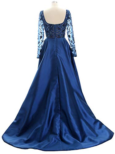 Gown Dress Mother Formal Bride Hi Sleeves The Navy lo Of Macloth Long Dark Evening Women Xxq7nw0H8