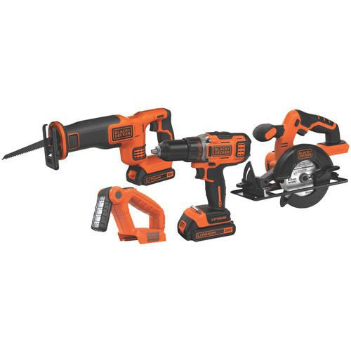 Black & Decker BDCDHP2204KR 20V MAX Lithium-Ion 4-Tool Combo Kit (Certified Refurbished) by BLACK+DECKER