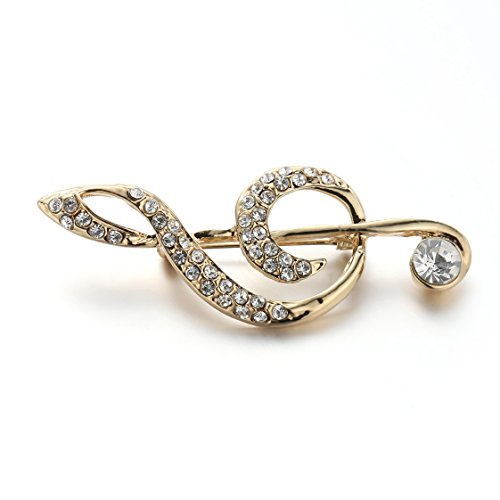Crystal Rhinestone Golden Pin Brooch Music Brooches Pins Clips Unisex Women&Men (White)